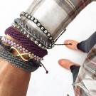 Pura Vida armbånd silver track bead light purple thumbnail