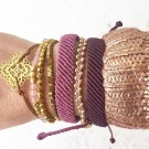 Pura Vida armbånd Gold track bead light purple thumbnail