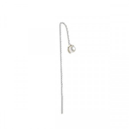 Freshwater pearl earchain silver