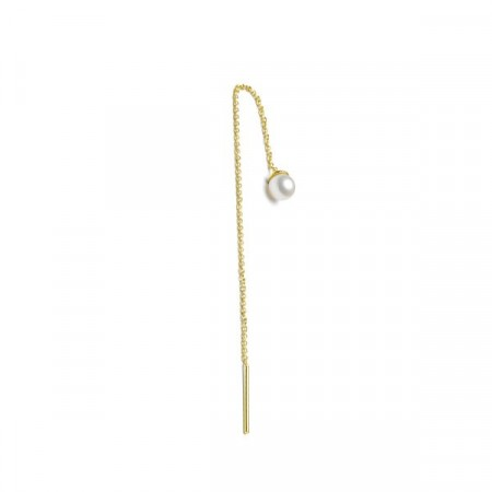 Freshwater pearl earchain gold