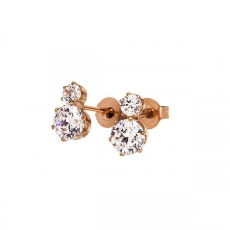 Crown Studs Double Rose Gold