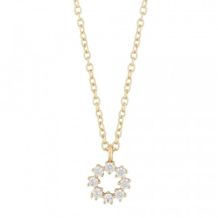 SNÖ Luire round pendant necklace gold/clear