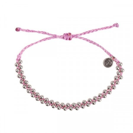 Pura Vida armbånd silver track bead light purple