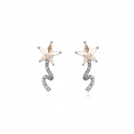 Shooting star earrings champagne