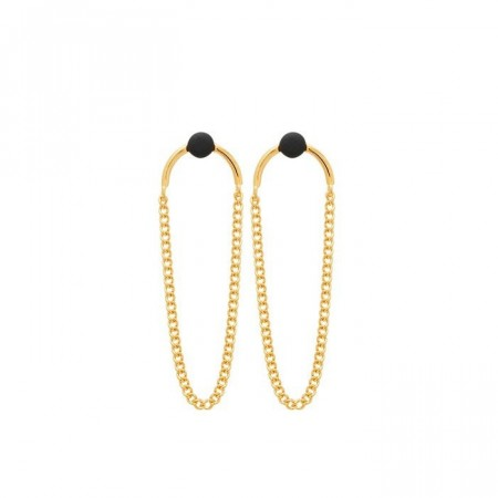 Microdot earrings with chains