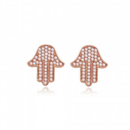 Hamsa hand earrings rose gold edition