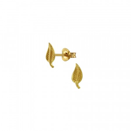 14K gullbelagte micro leaf earrings