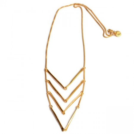 Aligned party necklace gold
