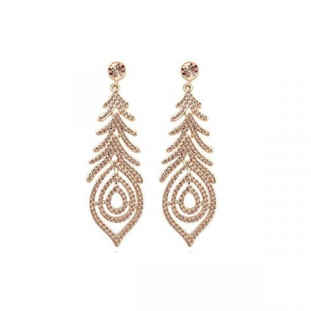 Hollywood star swarovski gold/champagne earrings