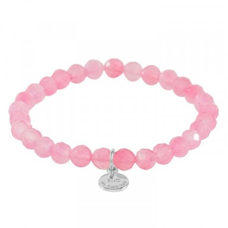 Rose small elastic bracelet silver/pink