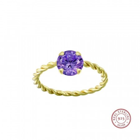 Positano twisted ring purple/gold