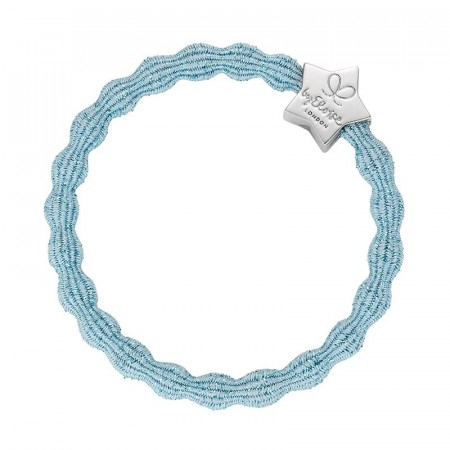 byEloise hårstrikk/armbånd metallic silver star light blue