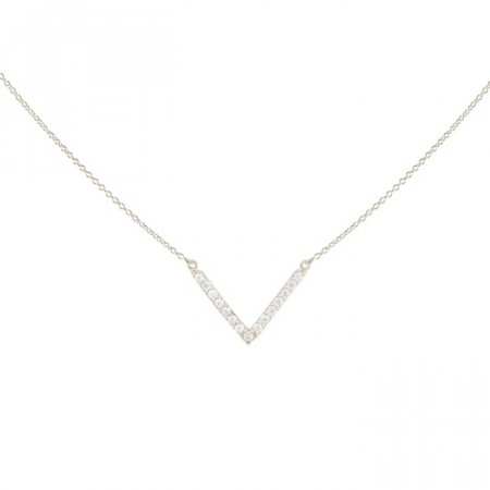 Strict sparkling V necklace silver