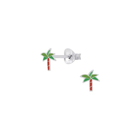 Petite palm stud silver earrings