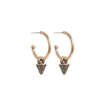 A&C Glittering spike creol earrings bronze