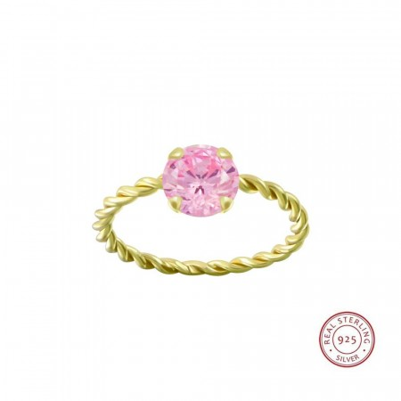 Positano twisted ring pink/gold