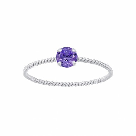 Portofino twisted ring amethyst/silver