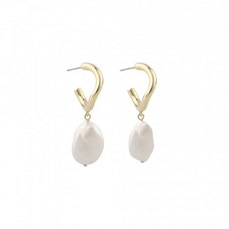 SNÖ Maxime oval earring gold/white