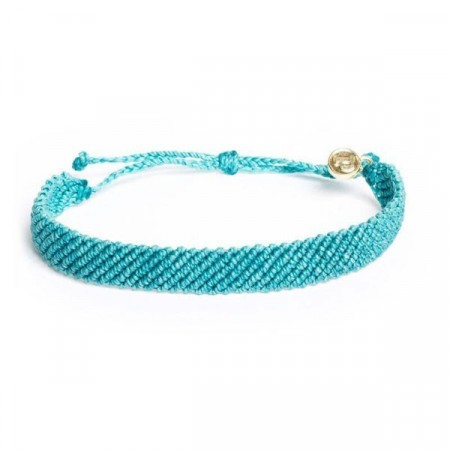 Pura Vida Armbånd Flat Braided Pacific blue