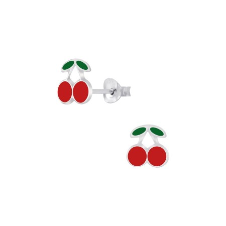 Cherry stud silver earrings