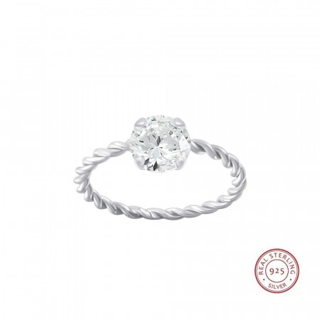 Positano twisted ring clear/silver