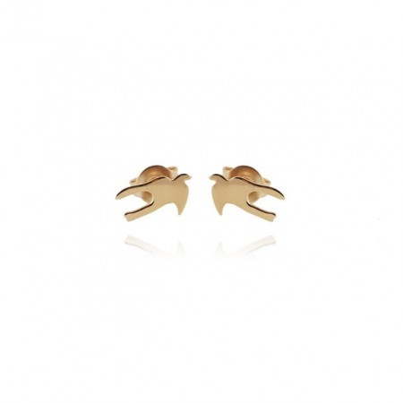 Swallow mini gold plated earring
