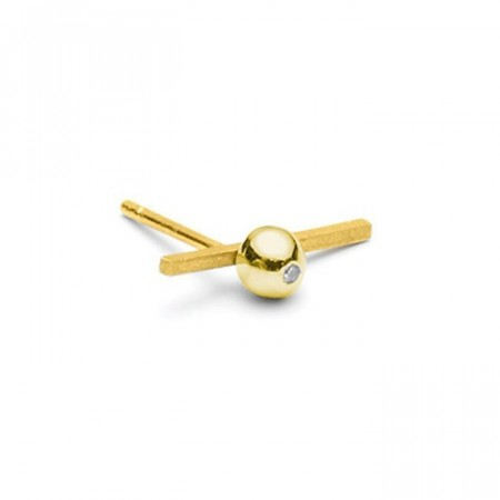 Raw diamond matt gold earstud