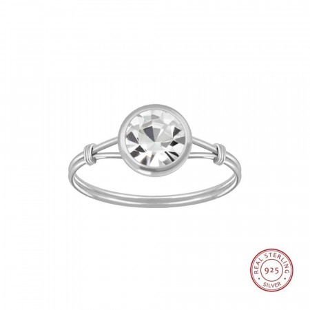 Sterling silver Diana handmade clear ring