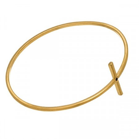 Divine Cross Bangle Matt Gold
