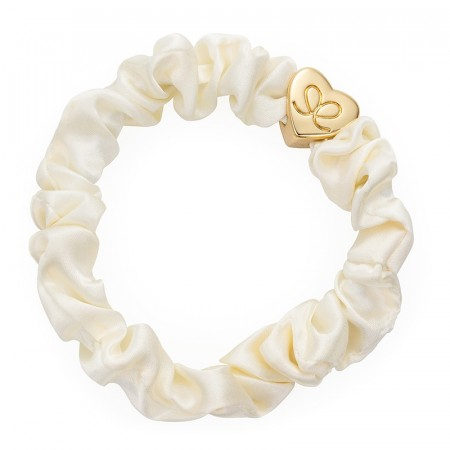 Gold heart silk scrunchie creme