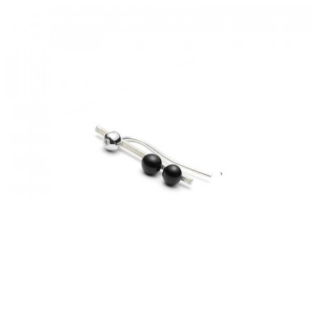 Raw diamond matt silver trio pearl earstud