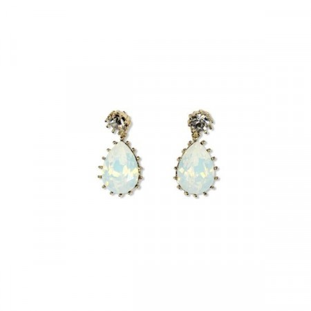 Droplet earring white opal/gold