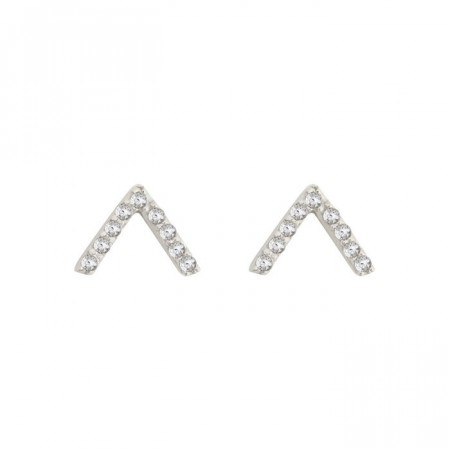 Strict sparkling V earrings silver