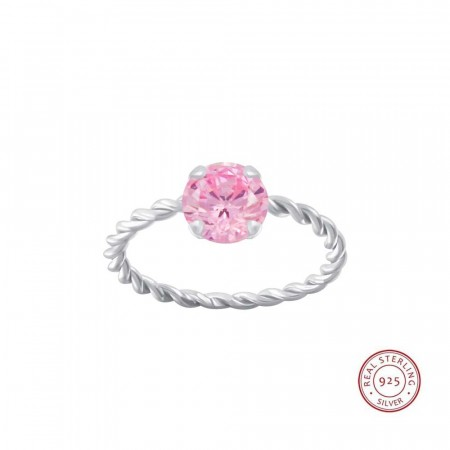 Positano twisted ring pink/silver