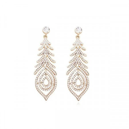 Hollywood star swarovski gold/clear earrings