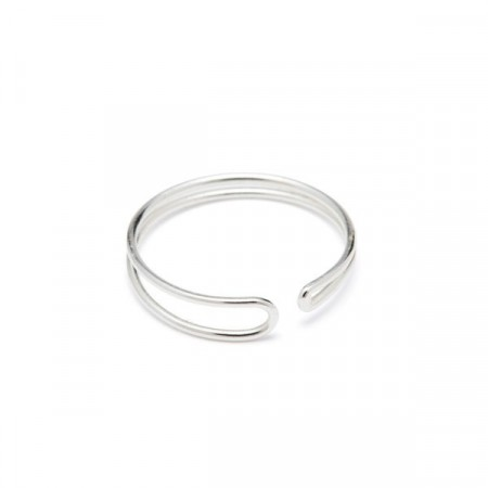 Enamel slim ring silver