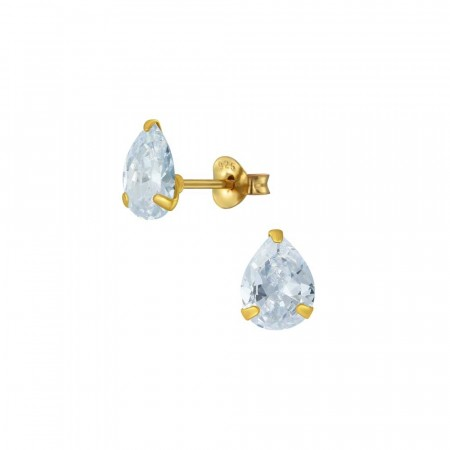 Chloe pear stud earrings clear/gold