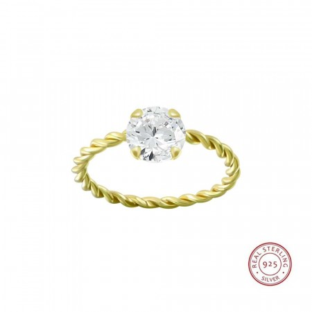 Positano twisted ring clear/gold