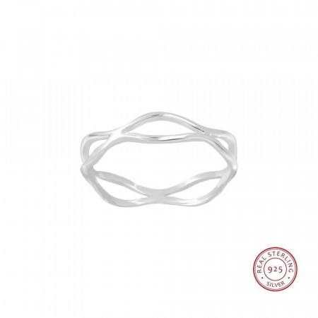 Sterling silver twisted Wood ring