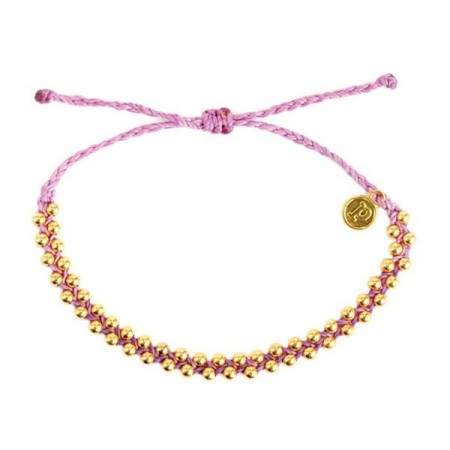 Pura Vida armbånd Gold track bead light purple
