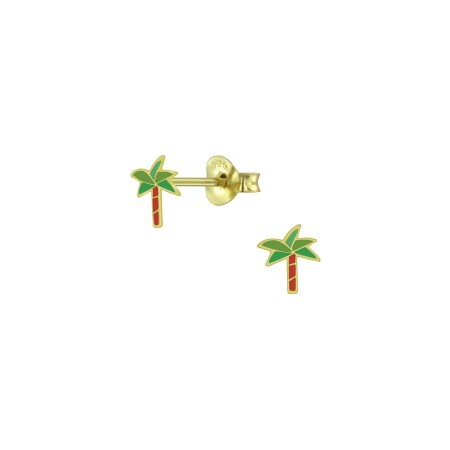 Petite palm gold stud earrings