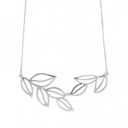 Maple big necklace plain silver