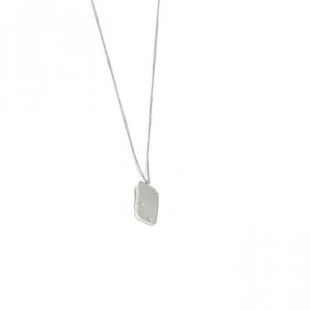 Raw diamond necklace small silver