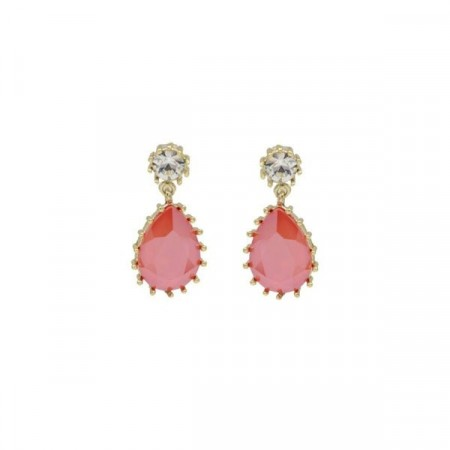 Droplet earring laquered coral