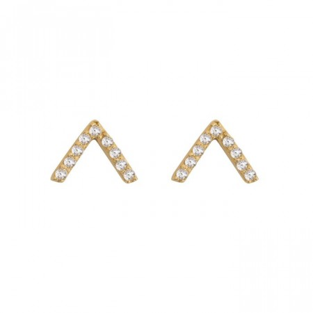 Strict sparkling V earrings gold