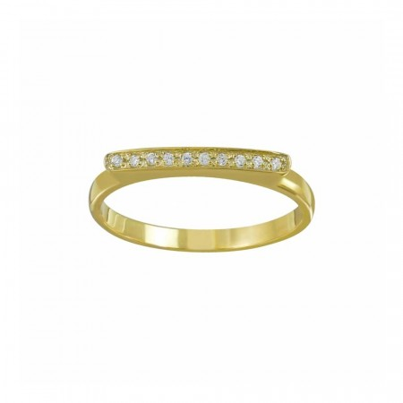 Lucy gold bar cubic zirconia ring
