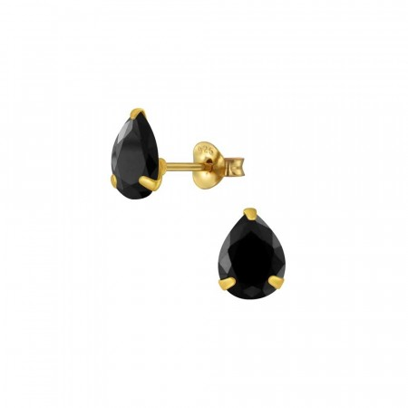 Chloe pear stud earrings black/gold