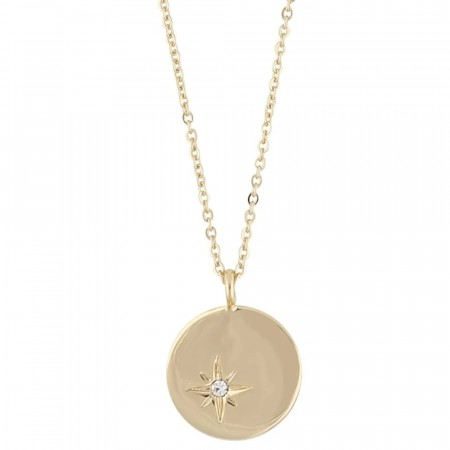 SNÖ Feliz pendant coin necklace gold/clear