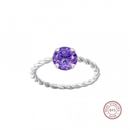 Positano twisted ring purple/silver