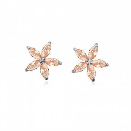 Sparkling flower earrings champagne